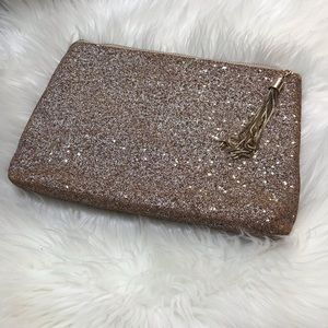 Expressions NYC Cork and Glitter Tan Clutch